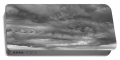 Great Salt Lake Clouds At Sunset - Black And White Portable Battery Charger