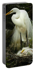 Majestic Great White Egret High Island Texas 3 Portable Battery Charger by Bob Christopher