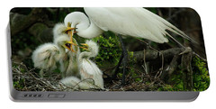 Majestic Great White Egret High Island Texas 9 Portable Battery Charger by Bob Christopher