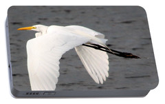 Portable Battery Charger featuring the photograph Great White Egret In Flight by Laurel Talabere