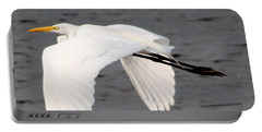 Great White Egret In Flight Portable Battery Charger by Laurel Talabere