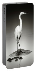 Great White Egret On Hippo Portable Battery Charger