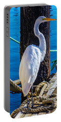Great White Heron Portable Battery Charger by Garry Gay
