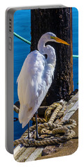 Great White Heron On Boat Dock Portable Battery Charger by Garry Gay