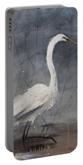Great White Heron Original Art Portable Battery Charger