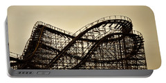 Great White Roller Coaster - Adventure Pier Wildwood Nj In Sepia Portable Battery Charger