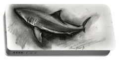 Great White Shark Drawing Portable Battery Charger