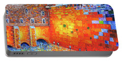Portable Battery Charger featuring the painting Wailing Wall Greatness In The Evening Jerusalem Palette Knife Painting by Georgeta Blanaru