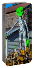 Green Alien Space Creature Portable Battery Charger by Garry Gay