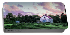 Green And Magenta Farm Sunset Portable Battery Charger