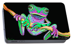 Green And Pink Frog Portable Battery Charger by Nick Gustafson