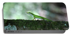 Green Anole Posing Portable Battery Charger by Christopher L Thomley
