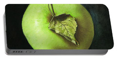 Green Apple With Leaf Portable Battery Charger