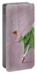 Portable Battery Charger featuring the painting Green Ballerina by Jamie Frier