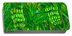 Portable Battery Charger featuring the digital art Green Bananas by Jean Pacheco Ravinski