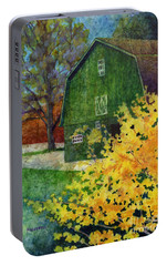Portable Battery Charger featuring the painting Green Barn by Hailey E Herrera