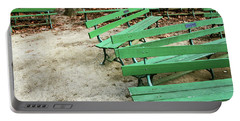 Green Benches- Fine Art Photo By Linda Woods Portable Battery Charger by Linda Woods