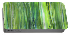Green Blue Organic Abstract Art For Interior Decor V Portable Battery Charger