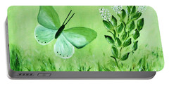 Portable Battery Charger featuring the painting Green Butterfly by Sonya Nancy Capling-Bacle