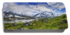 Portable Battery Charger featuring the photograph Green Carpet Under The Cotton Sky by Dmytro Korol