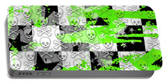 Green Checker Skull Splatter Portable Battery Charger by Roseanne Jones