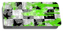 Green Checker Skull Splatter Portable Battery Charger