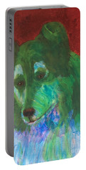 Portable Battery Charger featuring the painting Green Collie by Donald J Ryker III