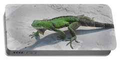 Green Common Iguana Creeping Across A Walkway Portable Battery Charger by DejaVu Designs