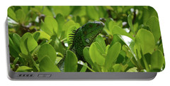 Green Common Iguana In A Shrub Portable Battery Charger by DejaVu Designs