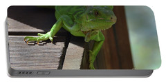 Green Common Iguana On The Edge Of A Bridge Portable Battery Charger