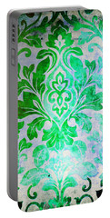 Green Damask Pattern Portable Battery Charger