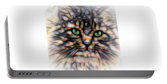 Portable Battery Charger featuring the digital art Green Eye Kitty Square by Terry DeLuco