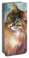 Green-eyed Maine Coon Cat - Remastered Portable Battery Charger
