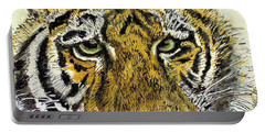 Green Eyed Tiger Portable Battery Charger by Laurie Rohner
