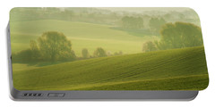 Portable Battery Charger featuring the photograph Green Foggy Waves by Jenny Rainbow