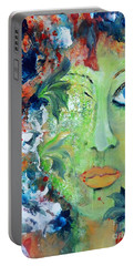 Portable Battery Charger featuring the painting Green Garden Goddess by Lisa Kaiser