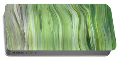 Green Gray Organic Abstract Art For Interior Decor II Portable Battery Charger
