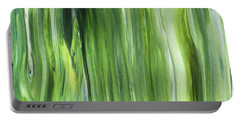 Green Gray Organic Abstract Art For Interior Decor IIi Portable Battery Charger