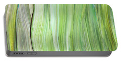 Green Gray Organic Abstract Art For Interior Decor Vi Portable Battery Charger