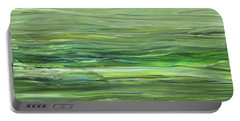 Green Gray Organic Abstract Art For Interior Decor Vii Portable Battery Charger