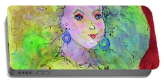 Portable Battery Charger featuring the painting Green Hair Don't Care by Claire Bull