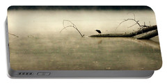 Green Heron In Dawn Mist Portable Battery Charger by Kathy Barney