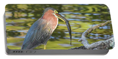 Green Heron With Fish Portable Battery Charger
