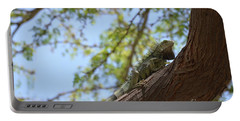 Green Iguana Climbing Up The Trunk Of A Tree Portable Battery Charger by DejaVu Designs