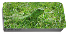 Green Iguana In Thick Grass Portable Battery Charger by DejaVu Designs