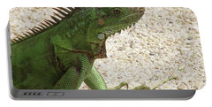 Green Iguana On A Pathway Portable Battery Charger by DejaVu Designs