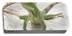 Green Iguana On A Sandy Beach Portable Battery Charger by DejaVu Designs