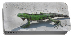 Green Iguana Walking Across A Pathway On The Beach Portable Battery Charger by DejaVu Designs