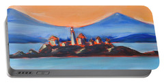 Portable Battery Charger featuring the painting Green Island Lighthouse by Yulia Kazansky