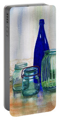 Portable Battery Charger featuring the painting Green Jars Still Life by Marilyn Smith